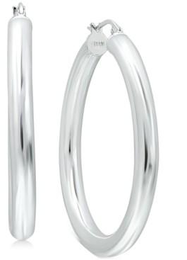 "Giani Bernini Medium Polished Tube Hoop Earrings in Sterling Silver, 1.57"", Created for Macy's"