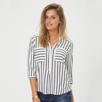 Vero Moda Striped V-Neck Blouse with 3/4 Length Sleeves