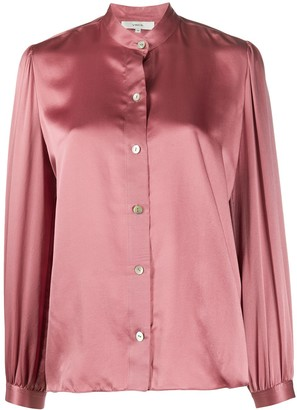 Vince Mandarin Collar Silk Shirt