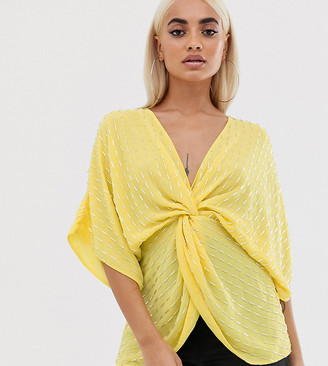 Asos DESIGN Petite knot front top with beaded sequin-Yellow