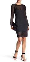 Wow Couture Mesh Panel Long Sleeve Dress