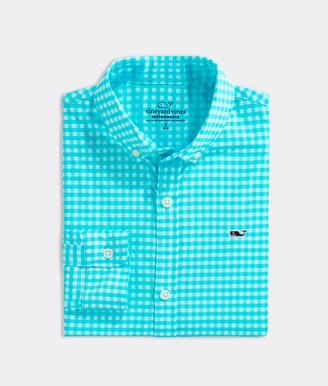 Vineyard Vines Boys' Paradise Plaid On-The-Go Performance Whale Button-Down Shirt