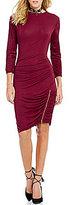 GUESS Charlene 3/4 Sleeve Mockneck Shirred Sheath Dress