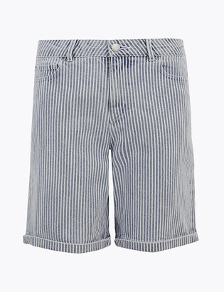 Marks and Spencer Cotton Rich Boyfriend Striped Chino Shorts