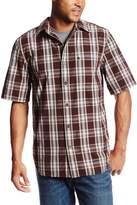 Carhartt Men's Big & Tall Essential Plaid Button Down Short Sleeve Shirt,Dark Brown
