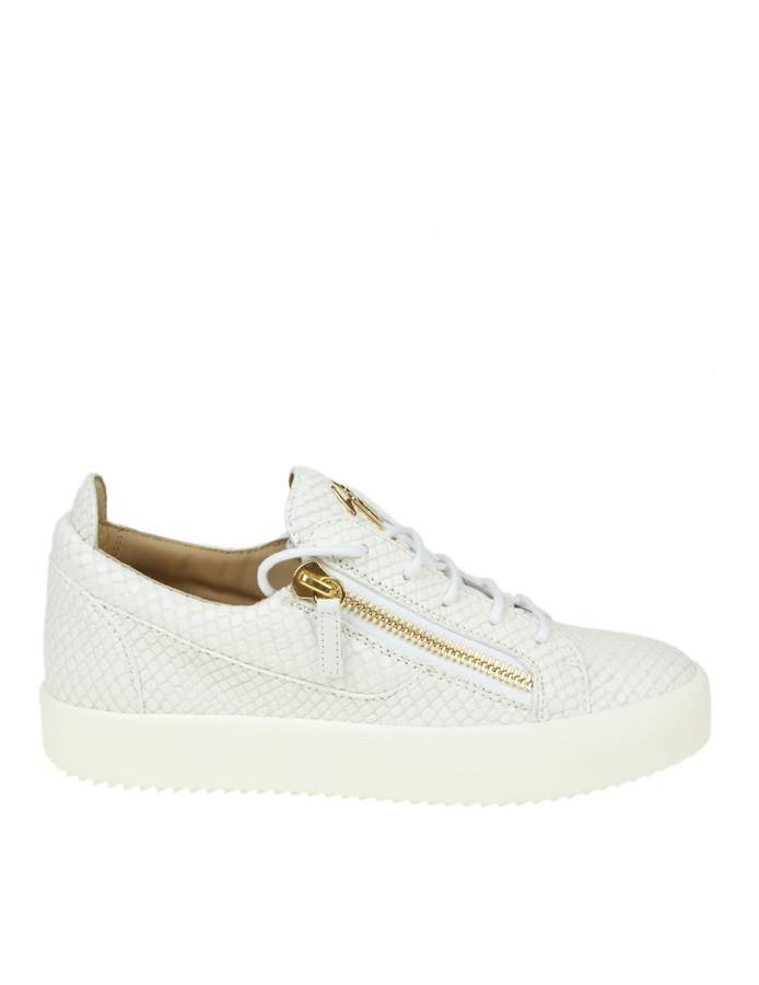 Giuseppe Zanotti Sneakers May London Leather With Pythoned Effect Whit