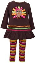Bonnie Jean Toddler Girl Turkey Applique Dress & Striped Leggings Set