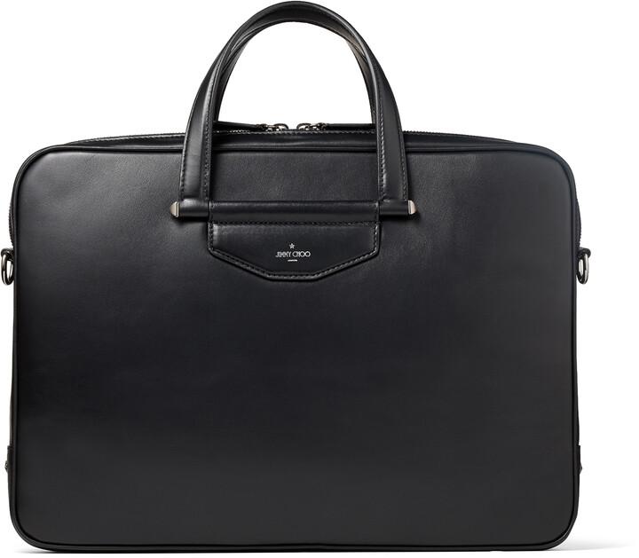 Jimmy Choo KNOX Black Leather Briefcase with Gel Laptop Pocket