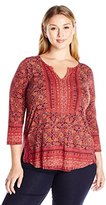 Lucky Brand Women's Plus Size Block Floral Top