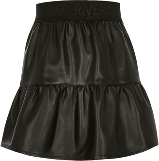 River Island Girls Black faux leather tiered mini skirt