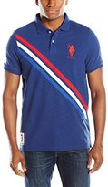 U.S. Polo Assn. Men's Tri-Color Diagonal Stripe Pique Polo Shirt