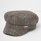 River Island Womens Brown check baker boy hat