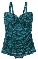 Merona Womens Plus-Size Lingerie Strap Ruffled One-Piece Swimsuit - Teal