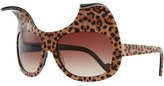 Karlsson Anna-Karin Exaggerated Cat Eye Sunglasses, Leopard