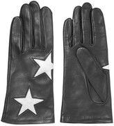 Agnelle Appliqu&eacuted leather gloves
