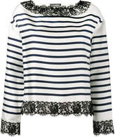 Dolce & Gabbana lace-trimmed striped blouse