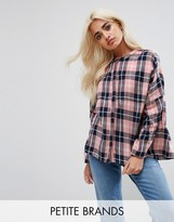 Noisy May Petite Check Top With Peplum Sleeve