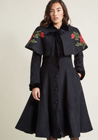 Collectif Innate Sophistication Coat with Removable Cape in L - Fit & Flare Coat by Collectif from ModCloth