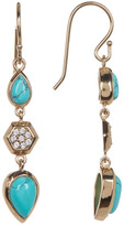 Melinda Maria Levi Turquoise Teardrop Pave Geo Linear Earrings