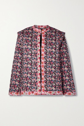 Sea Floral-print Quilted Cotton Jacket - Pink