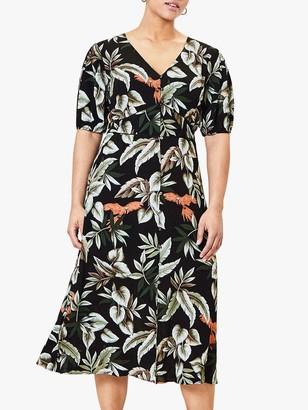 Oasis Curve Leaf Print Dress, Black