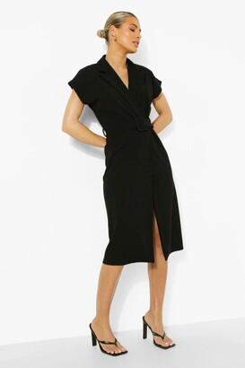 boohoo Belted Wrap Front Sleeveless Blazer Dress