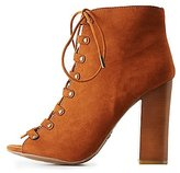 Charlotte Russe Bamboo Lace-Up Ankle Booties