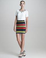 Crochet-Striped Pencil Skirt