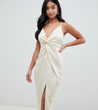 Asos DESIGN Petite satin midi dress with knot front and plunge neck-Multi