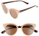 BP Women's 48Mm Round Cat Eye Sunglasses - Peach/ Tort