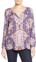 Lucky Brand Women's Tile Print Peasant Top