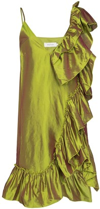 Marques Almeida Ruffled Metallic Silk Dress