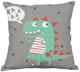 YeeJu Dinosaur Cotton Linen Throw Pillow Covers Decorative Square Cushion Cover Cartoon Sofa Home Pillow Cases 18x18 Inch