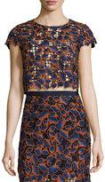 Saloni Eva Guipure Lace Crop Top, Navy/Orange