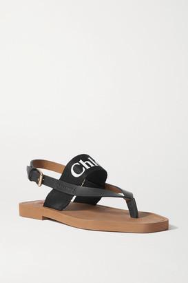 Chloé Logo-print Canvas And Leather Sandals - Black