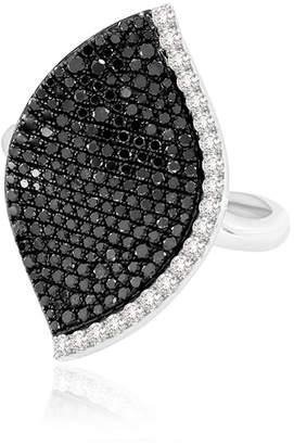 Black Diamond SUTRA 18k White Gold Lotus Leaf Ring