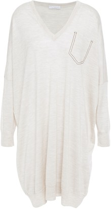 Brunello Cucinelli Oversized Bead-embellished Melange Cashmere And Silk-blend Dress
