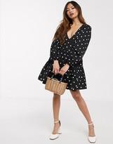 Asos Design DESIGN cotton poplin trapeze mini dress in spot print
