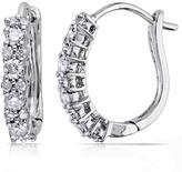 14K White Gold 0.48ctw White Diamond Pave Cluster Hoop Earrings