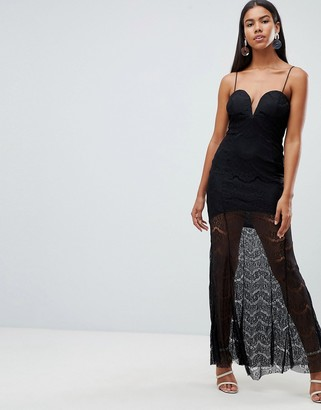 Rare London lace illusion plunge maxi dress