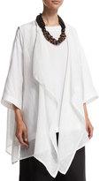 eskandar Waterfall-Front Sleeveless Linen Vest, White
