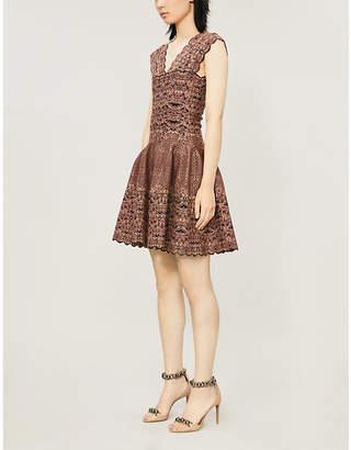 Alaia AZZEDINE Floral-pattern V-neck stretch-woven mini dress