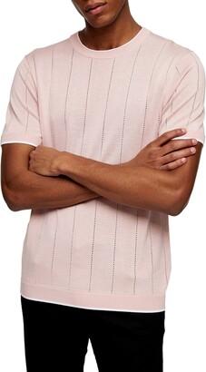 Topman Pointelle Short Sleeve Sweater