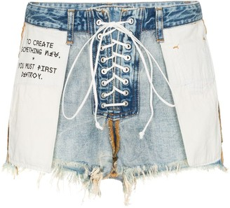 Unravel Project Distressed Reverse Lace Up Denim Shorts
