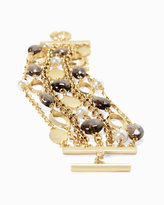 White House Black Market Smokey Quartz Pearl Toggle Bracelet
