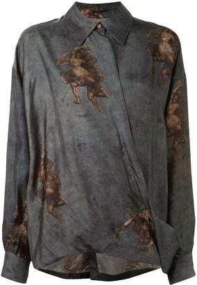 UMA WANG Renaissance print draped shirt