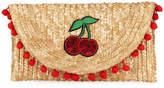 Cappelli Straworld Cherries Straw Pompom Clutch Bag