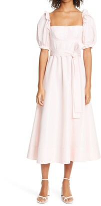 Self-Portrait Pink Square Neck Taffeta Midi Dress