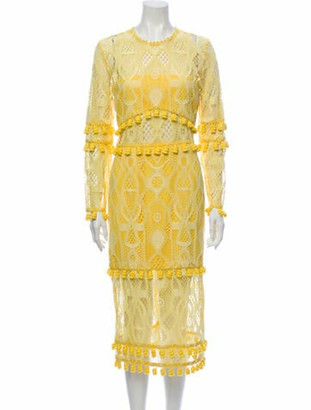Alexis Lace Pattern Midi Length Dress w/ Tags Yellow