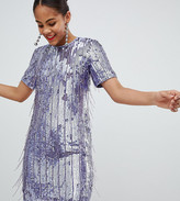 Asos Tall DESIGN Tall mini shift dress in heavily embellished fringed sequin